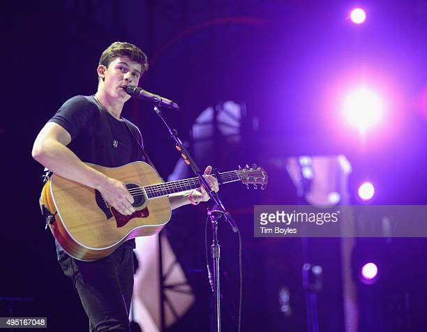 Shawn Mendes performs on Taylor Swift's The 1989 World Tour at Raymond James Stadium on October 31 2015 in Tampa Florida
