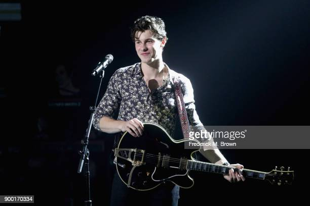 Shawn Mendes performs onstage during Dick Clark's New Year's Rockin' Eve with Ryan Seacrest 2018 on December 31 2017 in Los Angeles California