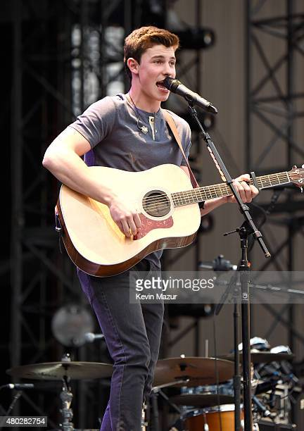 Shawn Mendes performs onstage during Taylor Swift's The 1989 World Tour Live at MetLife Stadium on July 10 2015 in East Rutherford New Jersey