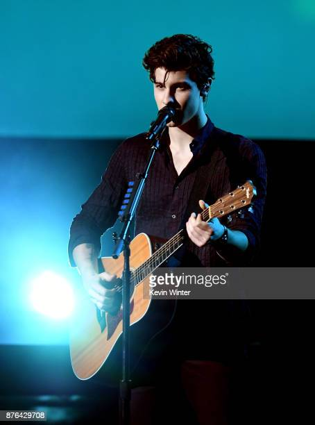 Shawn Mendes performs onstage during the 2017 American Music Awards at Microsoft Theater on November 19 2017 in Los Angeles California
