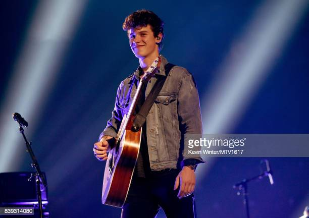 Shawn Mendes performs onstage during the 2017 MTV Video Music Awards rehearsals at The Forum on August 25 2017 in Inglewood California