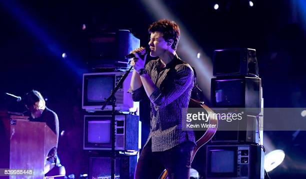 Shawn Mendes performs onstage during the 2017 MTV Video Music Awards at The Forum on August 27, 2017 in Inglewood, California.