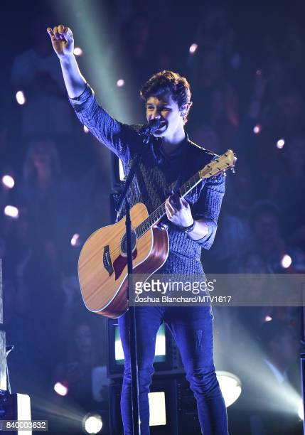 Shawn Mendes performs onstage during the 2017 MTV Video Music Awards at The Forum on August 27 2017 in Inglewood California