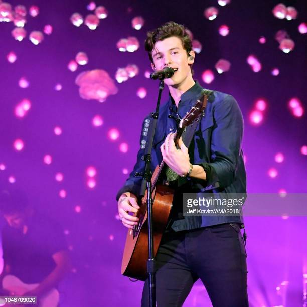 Shawn Mendes performs onstage during the 2018 American Music Awards at Microsoft Theater on October 9 2018 in Los Angeles California