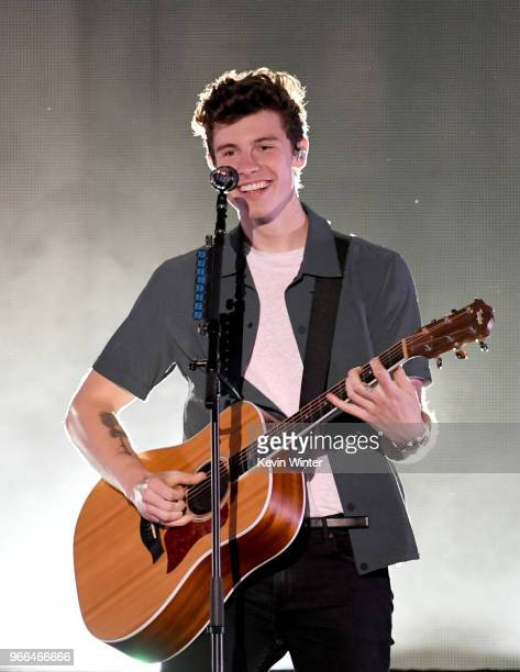 Shawn Mendes performs onstage during the 2018 iHeartRadio Wango Tango by ATT at Banc of California Stadium on June 2 2018 in Los Angeles California