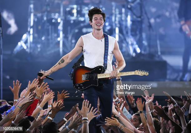 Shawn Mendes performs onstage during the 2018 MTV Video Music Awards at Radio City Music Hall on August 20 2018 in New York City