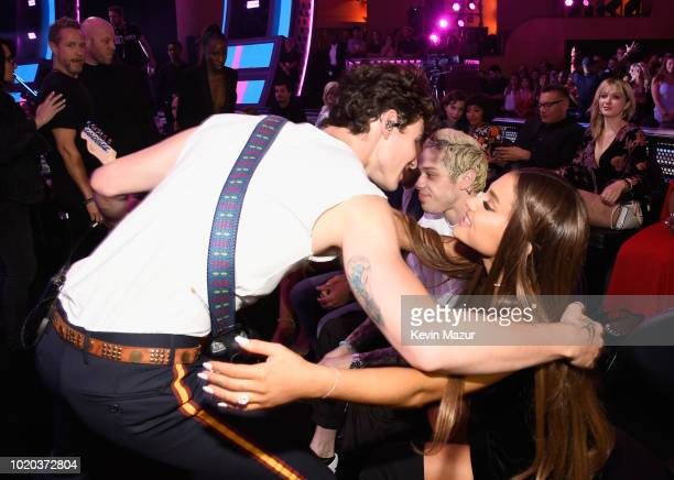 Shawn Mendes performs with Pete Davidson and Ariana Grande in the audience during the 2018 MTV Video Music Awards at Radio City Music Hall on August...