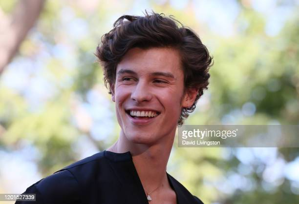 Shawn Mendes poses as Sir Lucian Grainge is honored with a Star on the Hollywood Walk of Fame on January 23 2020 in Hollywood California