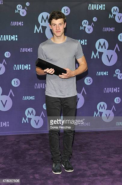 Shawn Mendes poses in the press room at the 2015 MuchMusic Video Awards at MuchMusic HQ on June 21, 2015 in Toronto, Canada.