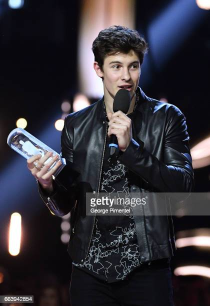 Shawn Mendes receives award at 2017 Juno Awards at Canadian Tire Centre on April 2 2017 in Ottawa Canada