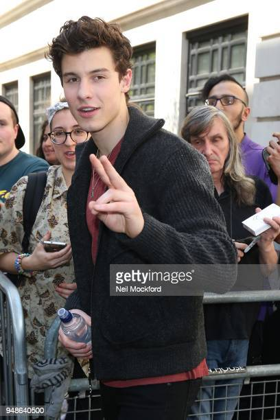 Shawn Mendes seen at BBC Radio 2 on April 19 2018 in London England