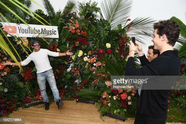 Shawn Mendes takes a photo of Casey Neistat during a special screening presented by YouTube Music of Shawn Mendes YouTube Artist Spotlight Story on...