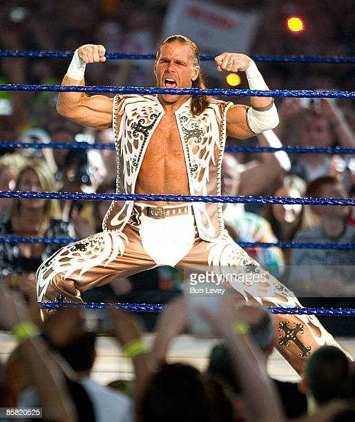 Shawn Michaels makes his intro as he takes on The Undertaker at 'WrestleMania 25' at the Reliant Stadium on April 5 2009 in Houston Texas
