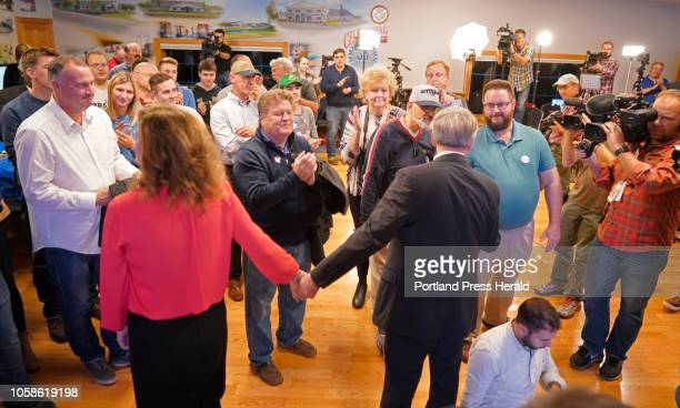 Shawn Moody and his wife Chrissi greet supporters after Moody conceded the gubernatorial race to Janet Mills shortly after midnight on Wednesday...