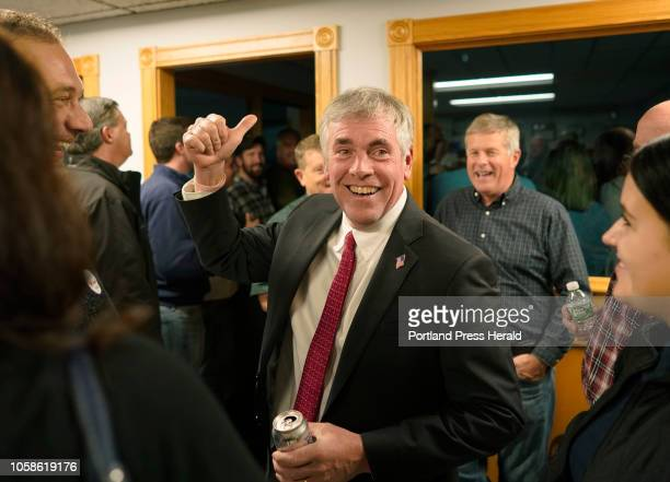 Shawn Moody talks with supporters on Tuesday November 6 2018 at Moody's Collision Center in Gorham the headquarters for Shawn Moody's gubernatorial...