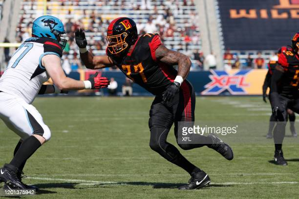 Shawn Oakman of the LA Wildcats rushes the pass against the Dallas Renegades at Dignity Health Sports Park on February 16, 2020 in Carson, California.
