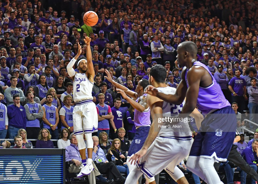 Shawn Olden #2 of the TCU Horned Frogs hits a three-point shot against the Kansas State Wildcats during the first half on January 20, 2018 at Bramlage Coliseum in Manhattan, Kansas.
