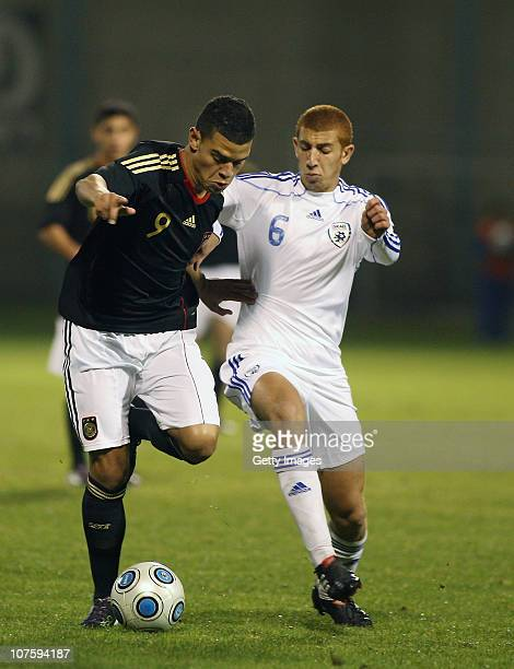 Shawn Paeker of Germany and Kfir Kahat Eizenstein of Israel battle the ball during the U18 international friendly match between Israel and Germany on...