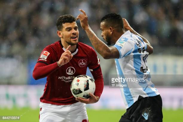 Shawn Parker of 1 FC Nuernberg Amilton of TSV 1860 Muenchen gesture during the Second Bundesliga match between TSV 1860 Muenchen and 1 FC Nuernberg...