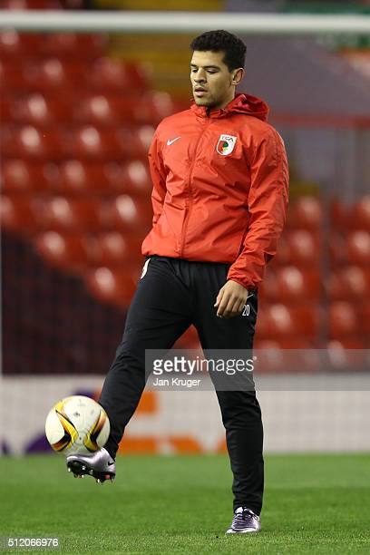 Shawn Parker of FC Augsburg in action during the FC Augsburg training session ahead of their UEFA Europa League round of 32 second leg match against...