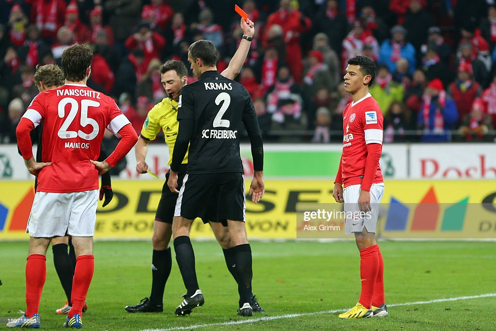 Shawn Parker R Of Mainz Is Sent Off During The Bundesliga Match Between