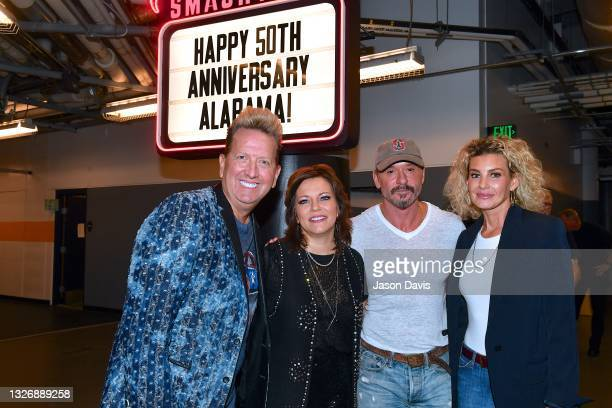Shawn Parr, Martina McBride, Tim McGraw and Faith Hill arrive at the Alabama 50th Anniversary Tour Opening Weekend at Bridgestone Arena on July 03,...