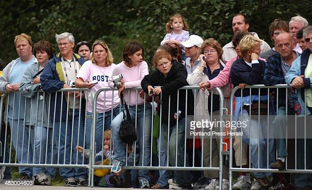 Shawn Patrick Ouellette, Thursday, September 29, 2005: Spectators watch from the designated area as the Goodale home is romoved from its foundation...