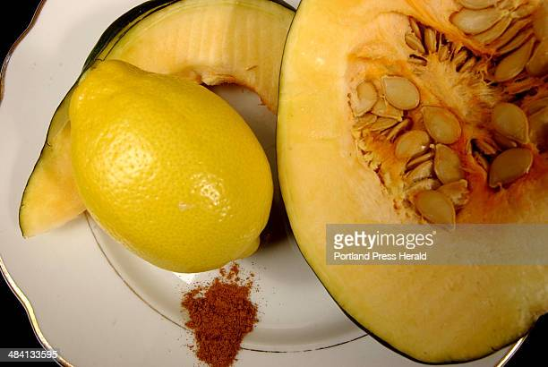 Shawn Patrick Ouellette Tuesday January 4 2005 Food photo for Chef Harry Article Acorn squash with lemon and cinnamon to be used in Cinnamon Sugar...