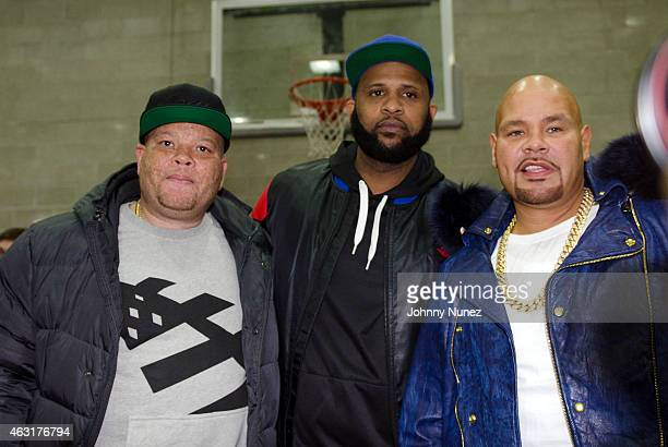 Shawn 'Pecas' Costner, CC Sabathia, and Fat Joe attend the 2015 Celebrity All Star Basketball Game at Baruch College on February 10, 2015 in New York...