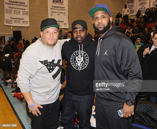 Shawn Pecas Oronde Garrett and CC Sabathia coach a team during the Hard 2 Guard Celebrity Stars Basketball Game at Baruch College on February 10 2015...