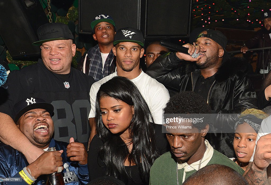 Shawn Pecas, Victor Cruz, Young Jeezy and Karen Civil attend Young Jeezy And Victor Cruz's Post Super Bowl Party at Greenhouse on February 2, 2014 in New York City.
