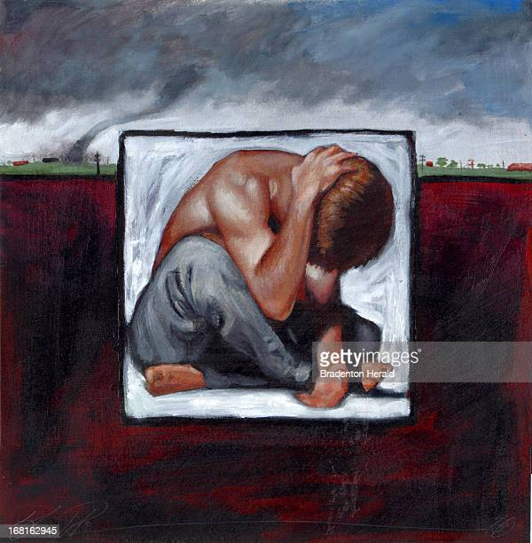 Shawn Peters color illustration of depressed man holding his head with his hand in background is image of dark sky with tornado