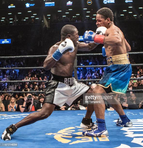 Shawn Porter and Andre Bertothrow punchesin a fight that Porter wins by TKO in the 9th round of their WBC welterweight title eliminator at the...