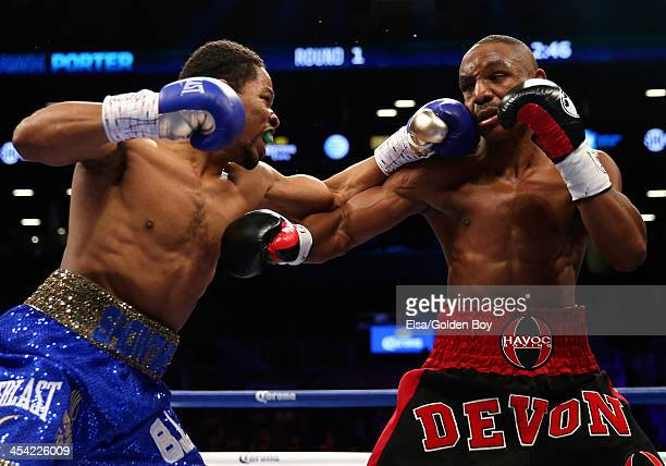 Shawn Porter and Devon Alexander exchange punches during their IBF Welterweight title fight at Barclays Center on December 7, 2013 in the Brooklyn...