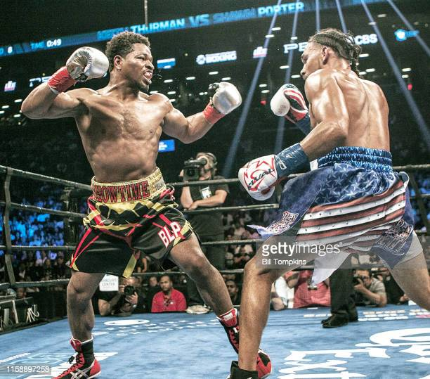 Shawn Porter and Keith Thurman face eachother in the fight that Porter lost by Unanimous Decsion in their WBA Welterweight title fight at The Barclay...