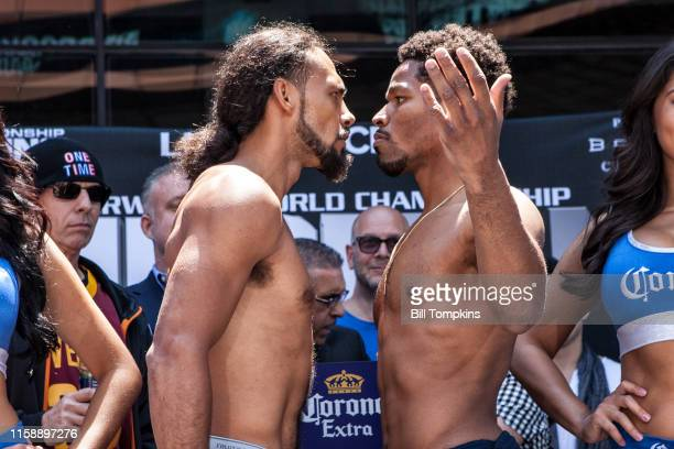 Shawn Porter and Keith Thurman pose at their weigh in prior to their WBA Welterweight title fight at The Barclay Center on June 24, 2016 in Brooklyn,...