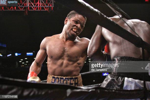 Shawn Porter battles Andre Berto against the ropes and defeats Berto by TKO in the 9th round of their WBC welterweight title eliminator at the...