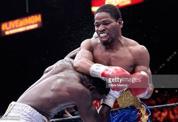 Shawn Porter battles with Adrien Broner in their welterweight fight at MGM Grand Garden Arena on June 20 2015 in Las Vegas Nevada Porter won the...