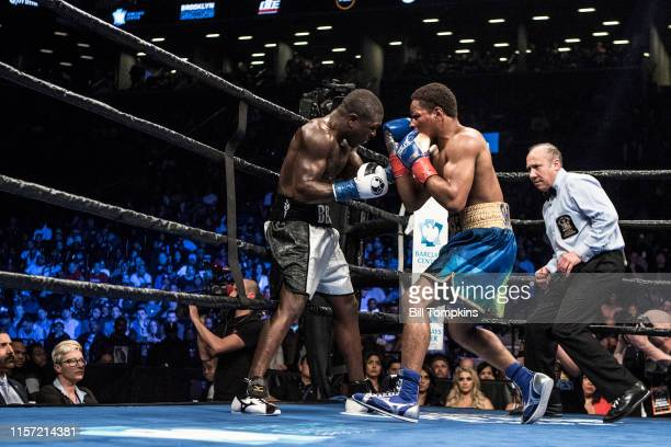 Shawn Porter defeats Andre Berto by TKO in the 9th round of their WBC welterweight title eliminator at the Barclay Center April 22 2017 in Brooklyn