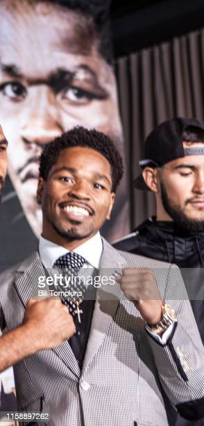 Shawn Porter faces to the Press about his fight against Keith Thurman in their WBA Welterweight title fight at The Dream Hotel on June 23, 2016 in...