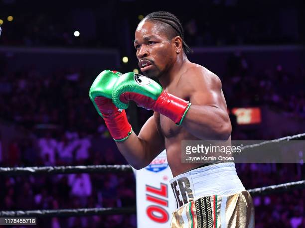 Shawn Porter in the ring against Erroll Spence Jr. During their IBF & WBC World Welterweight Championship fight at Staples Center on September 28,...