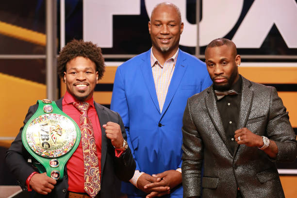 Shawn Porter, Lennox Lewis and Yordenis Ugás attend FOX Sports and Premier Boxing Champions Press Conference Experience on November 13, 2018 in Los...