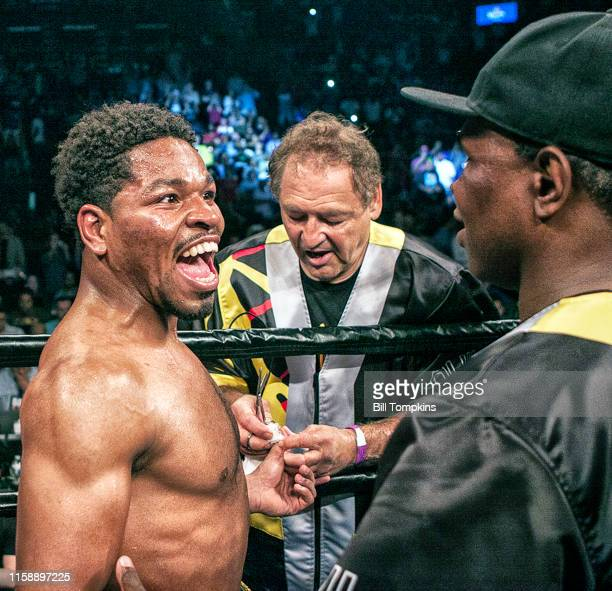 """Shawn Porter """"nreacts to his loss against Keith Thurman by Unanimous Decsion in their WBA Welterweight title fight at The Barclay Center on June 25,..."""