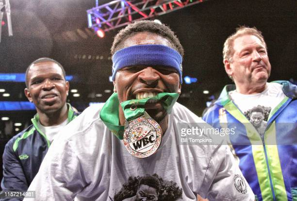 April 22: Shawn Porter poses after defeating Andre Berto by TKO in the 9th round of their WBC welterweight title eliminator at the Barclay Center,...