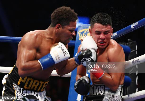 Shawn Porter punches Adrian Granados during their WBC welterweight title eliminator at the Barclays Center on November 4 2017 in the Brooklyn Borough...