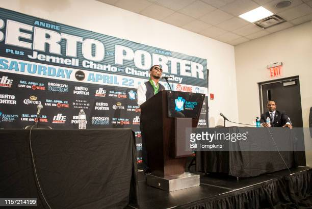 Shawn Porter speaks during the Post Press conference after Porter defeated Andre Berto by TKO in the 9th round of their WBC welterweight title...