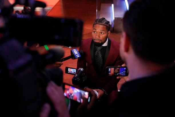 Shawn Porter speaks with the media prior to a press conference for a fight between Manny Pacquiao and Errol Spence Jr at Fox Studios on July 11, 2021...