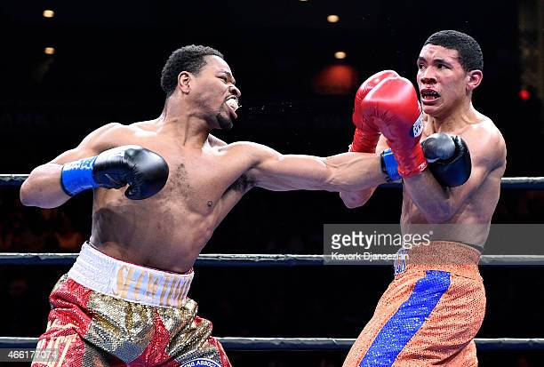 Shawn Porter throws a punch against Erick Bone during their 12 round welterweight bout at Citizens Business Bank Arena March 13 2015 in Ontario...