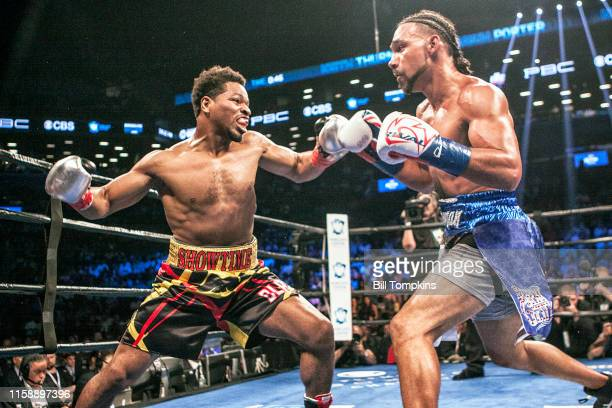 Shawn Porter throws a right against Keith Thurman in which Porter lost by Unanimous Decsion in their WBA Welterweight title fight at The Barclay...