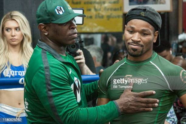 Shawn Porter works out and speaks to the press during the media workout event for his upcoming Welterweight title fight against Danny Garcia at...